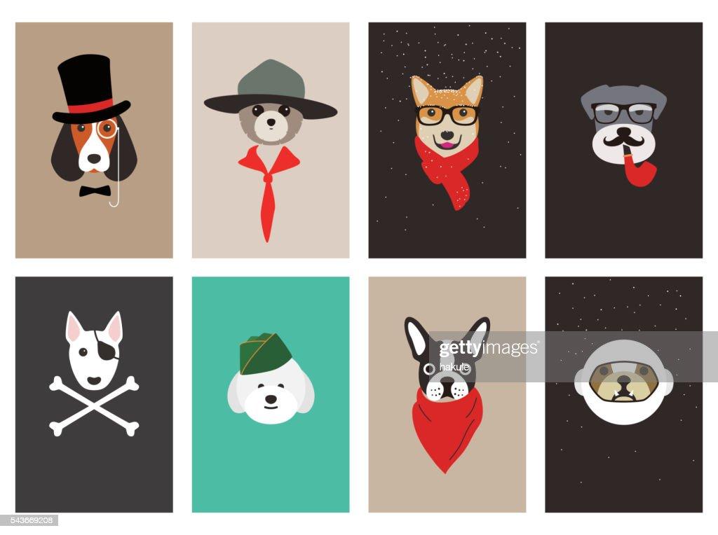 hipster, portrait of dog, gentlemen dog : Vector Art