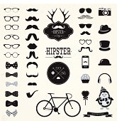 Hipster Black and White Retro Vintage Vector Icon Set, Mustaches, Hats, Badges, Labels, Bicycle Collection