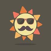 Hipster summer sun. vector illustration
