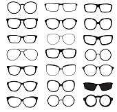 Hipster Summer Sunglasses Fashion Glasses Collection Isolated on White Vector Illustration EPS10