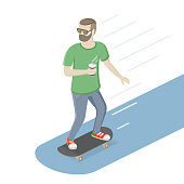 Man. Isometric view. Vector flat illustration.