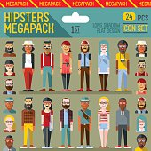 Hipsters megapack. Flat design. Long shadow. Vector illustrations. Icon set 1st.