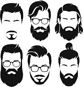 Set of  silhouette bearded men faces hipsters style with different haircuts.