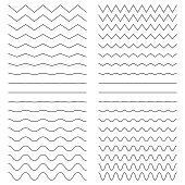Hiqh quality set of zigzags/curves line. Vector illustration isolated on a white background for your images. Outline wavy or zigzags.