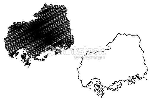 Hiroshima Prefecture Map Vector stock vector - Thinkstock