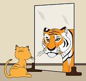 An ordinary house cat sees himself as a huge fierce tiger