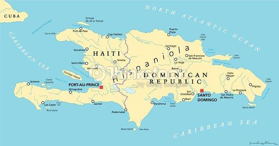 Hispaniola Political Map With Haiti And Dominican Republic Vector - Map of dominican republic world