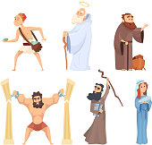 Historical illustrations of christian characters of holy bible. Vector noah and virgin mary, judah and moses