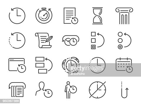 History and time management icon set. Included the icons as Anti-Aging, revert, time, reverse, u-turn, time machine, waiting, reschedule and more : stock vector