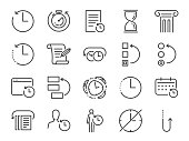 History and time management icon set. Included the icons as Anti-Aging, revert, time, reverse, u-turn, time machine, waiting, reschedule and more