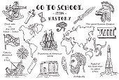 History. Hand sketches on the theme of History. Vector illustration.