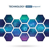 Abstract hexagon science background. Hi-tech digital technology and engineering concept