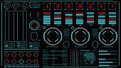 hi-tech interface on dark background. Design elements for hud, user interface, animation, motion design. Vector illustration