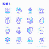 Hobby thin line icons set: reading, gaming, gardening, photography, cooking, sewing, fishing, hiking, yoga, music, travelling, blogging, knitting. Modern vector illustration.