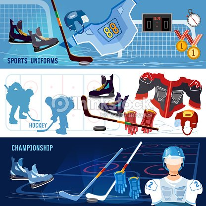 Hockey banner. Hockey team, sport uniform. World ice hockey championship, hockey players shoots the puck and attacks, signs and symbols elements of professional hockey