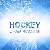 Hockey championship blue abstract poster with ice pattern. Vector background.