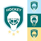A set of vector hockey crests on a selection of different color backgrounds.