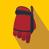 Hockey glove flat icon. Colored symbol with shadow on a yellow background