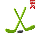 Hockey icon.Isometric and 3D view.