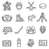 hockey icons set, line style. hockey attributes isolated symbols collection. vector linear illustration