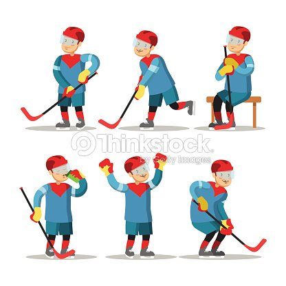 Hockey Player Cartoon. Winter Sports
