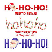 Ho-Ho-Ho Phrase Sign Vector. Merry Christmas Greeting Red Background Card. Santa Claus. Place For Text. Illustration
