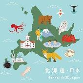 Hokkaido Illustration Map.