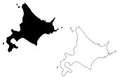 Hokkaido (Administrative divisions of Japan, Prefectures of Japan) map vector illustration, scribble sketch Hokkaido (Ezo, Yezo, Yeso, Yesso) map