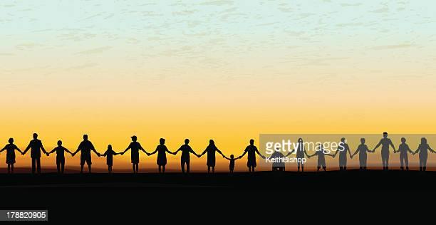 Hände halten-United Community Sonnenuntergang Hintergrund