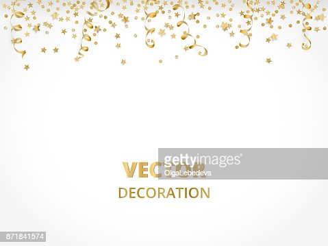 Holiday background. Isolated golden garland border, frame. Hanging baubles, streamers, falling confetti : Vector Art