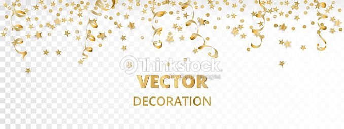 Holiday background. Isolated golden garland border, frame. Hanging baubles, streamers, falling confetti : stock vector