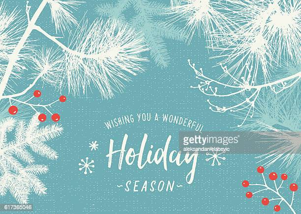 Holiday Background with Evergreen Branches