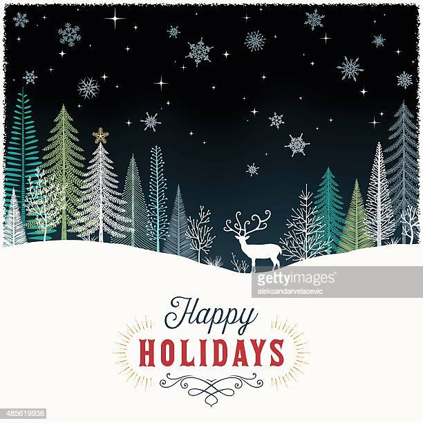Holiday Background with Reindeer