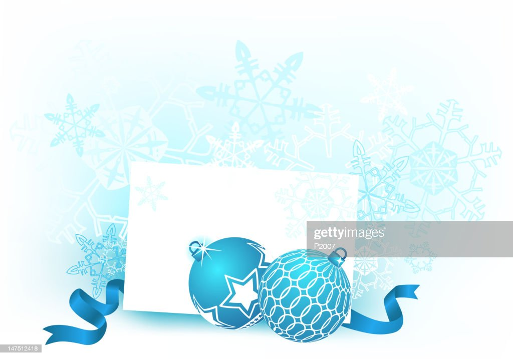 Holiday Baubles on Snowy Background : Vector Art