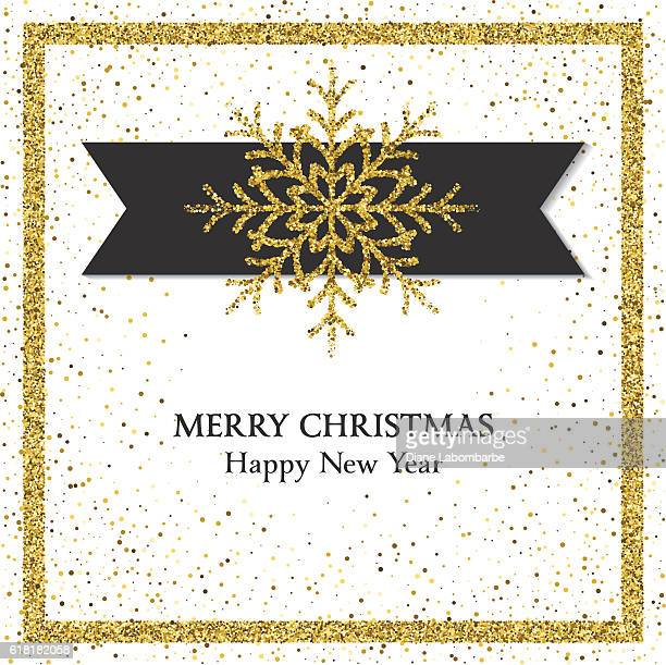 Holiday Card With Golden Metallic Glitter