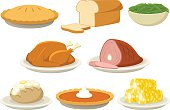 Vector illustration of a variety of holiday (Thanksgiving and Christmas) foods. Illustration uses no gradients, meshes or blends, only solid color. Both AI10-compatible .eps and a high-res .jpg are in