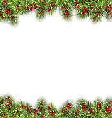 Illustration Holiday Frame with Fir Branches and Holly Berries, Copy Space for Your Text - Vector