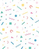 Bright geometric pattern in the style of the 80's 90's for the cover design, background, cover, fabric, fashion. Holiday repeating pattern