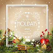 Traditional Christmas decorations and calligraphic inscription on gold background - Christmas greeting card