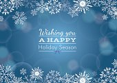 Holiday greeting with snowflake and bokeh background. Vector illustration.
