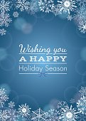 Holiday Greeting with snowflakes and bokeh - vector illustration.