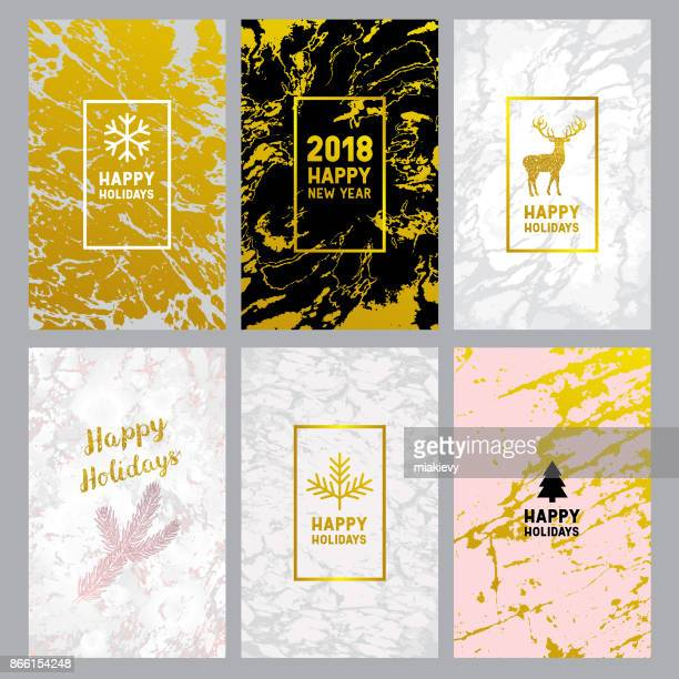 Holiday marble greeting cards