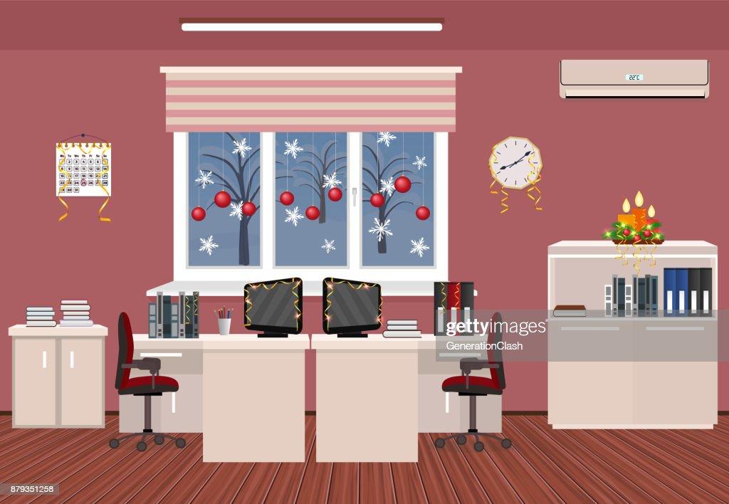 Intérieur de chambre vacances bureau noël design despace de
