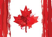 Holiday poster with hand drawn watercolor Canada maple leaf. Happy Canada Day watercolor horizontal background. Grunge canadian flag illustration. Design for banner or greeting cards.