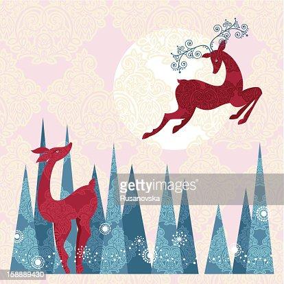Holiday Reindeer : Arte vetorial