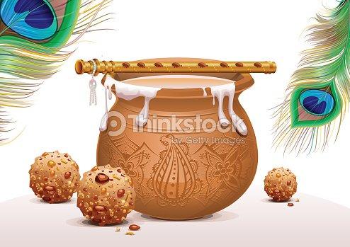 holiday symbols krishna janmashtami pot of yoghurt peacock feather