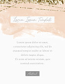 Holiday watercolor background with golden texture. Modern vector template. Watercolor design in coral, gold, white colors for poster, flyer, placard, invitation
