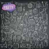 chalkboard. doodle,holidays and party icons, celebration