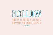 Hollow sans serif font in the style of handmade graphics. Letters and numbers with vintage texture for emblem and title design. Print on white background