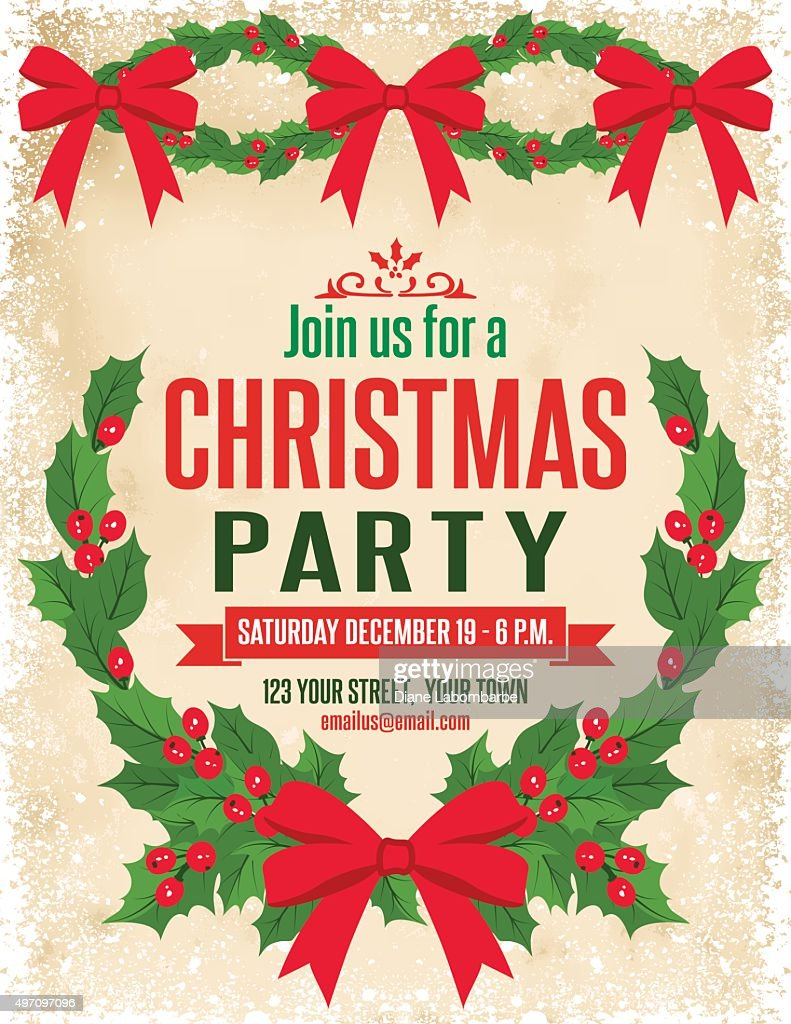 Holly Christmas Party Invitation Template Vector Art Getty Images